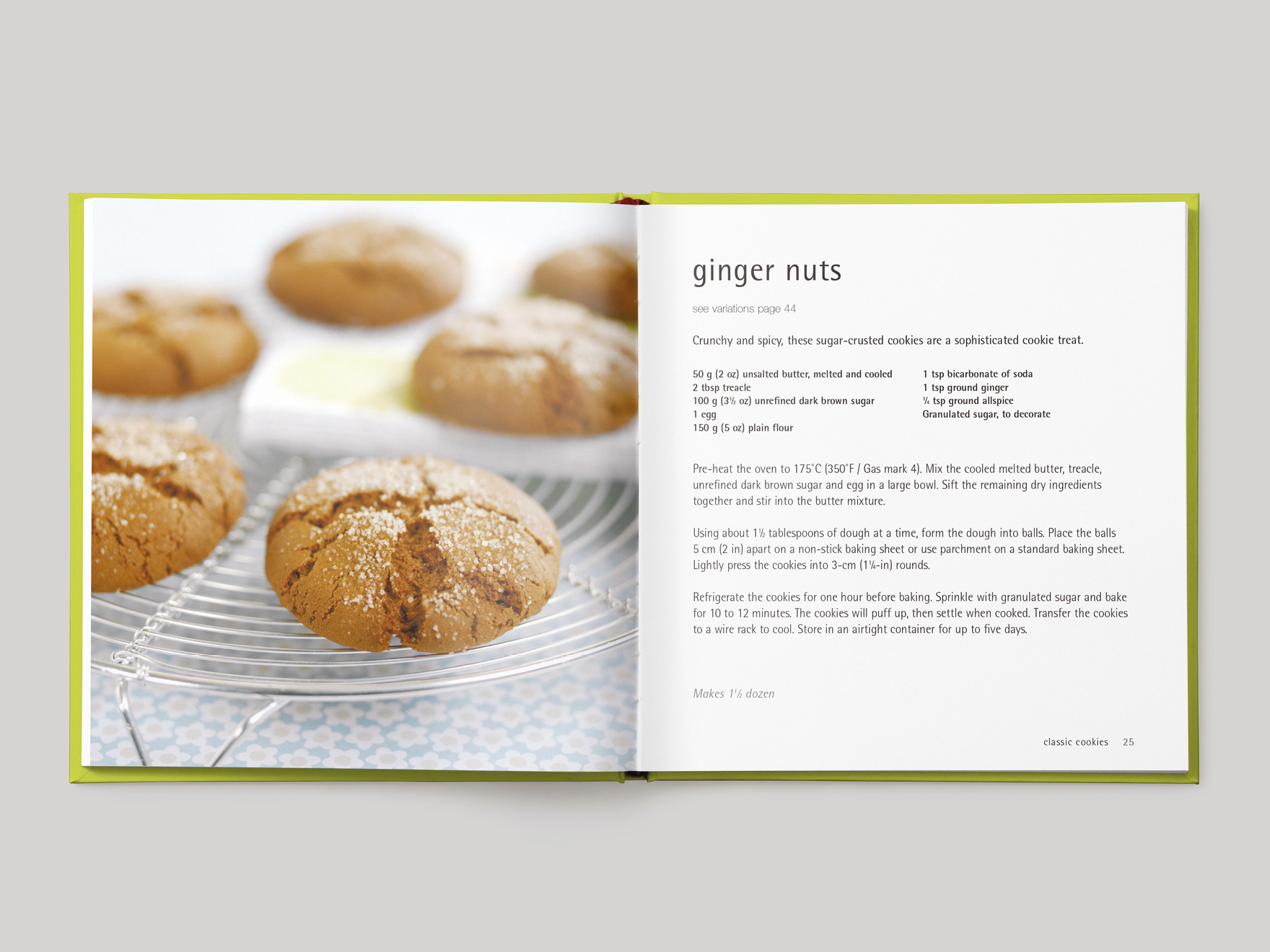 Inside pages from 500 Cookies showing a recipe for ginger nut cookies