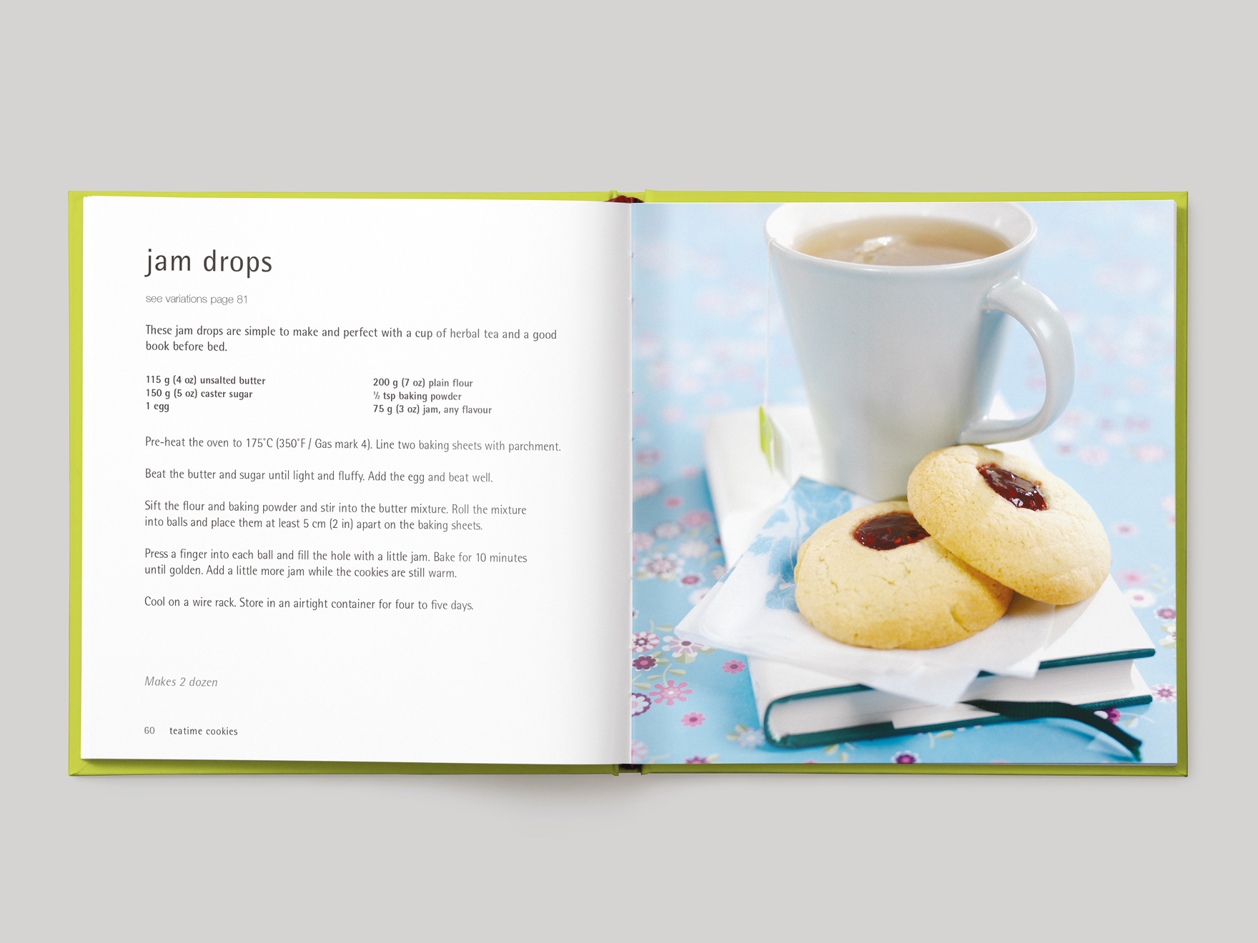 Inside pages from 500 Cookies showing a recipe for jam drop cookies