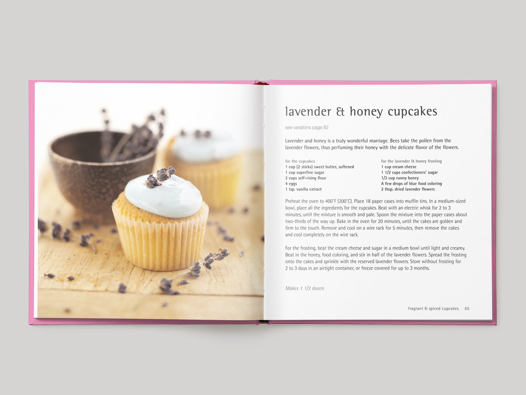 Inside pages from 500 Cupcakes showing a recipe for lavender and honey cupcakes
