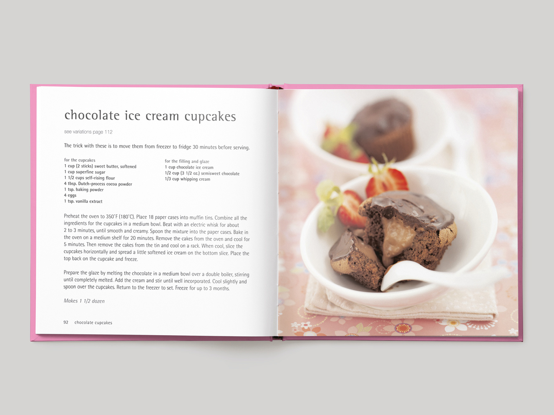 Inside pages from 500 Cupcakes showing a recipe for chocolate ice cream cupcakes