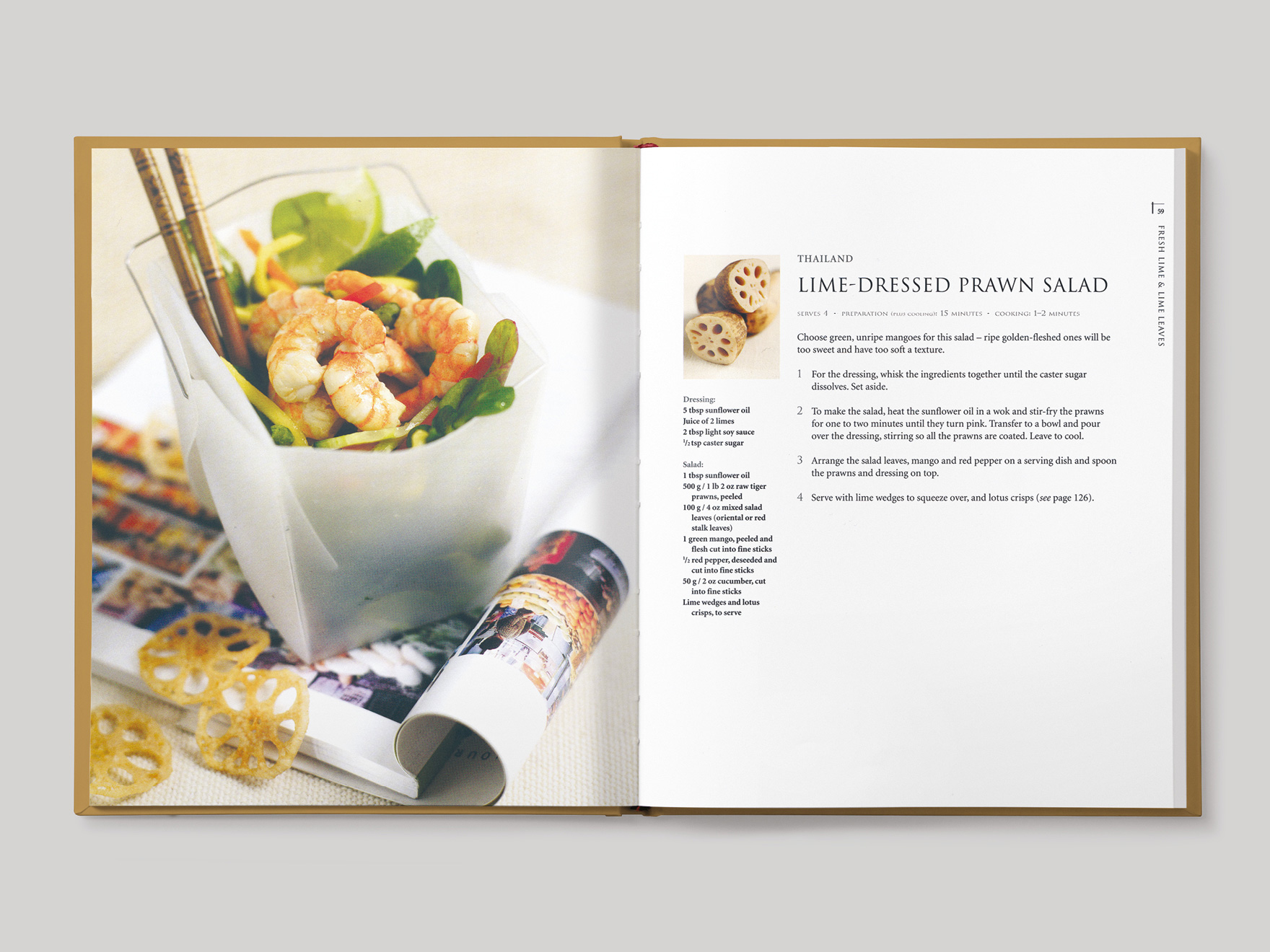 Inside book pages from Asian Flavours showing a recipe for lime dressed prawn salad