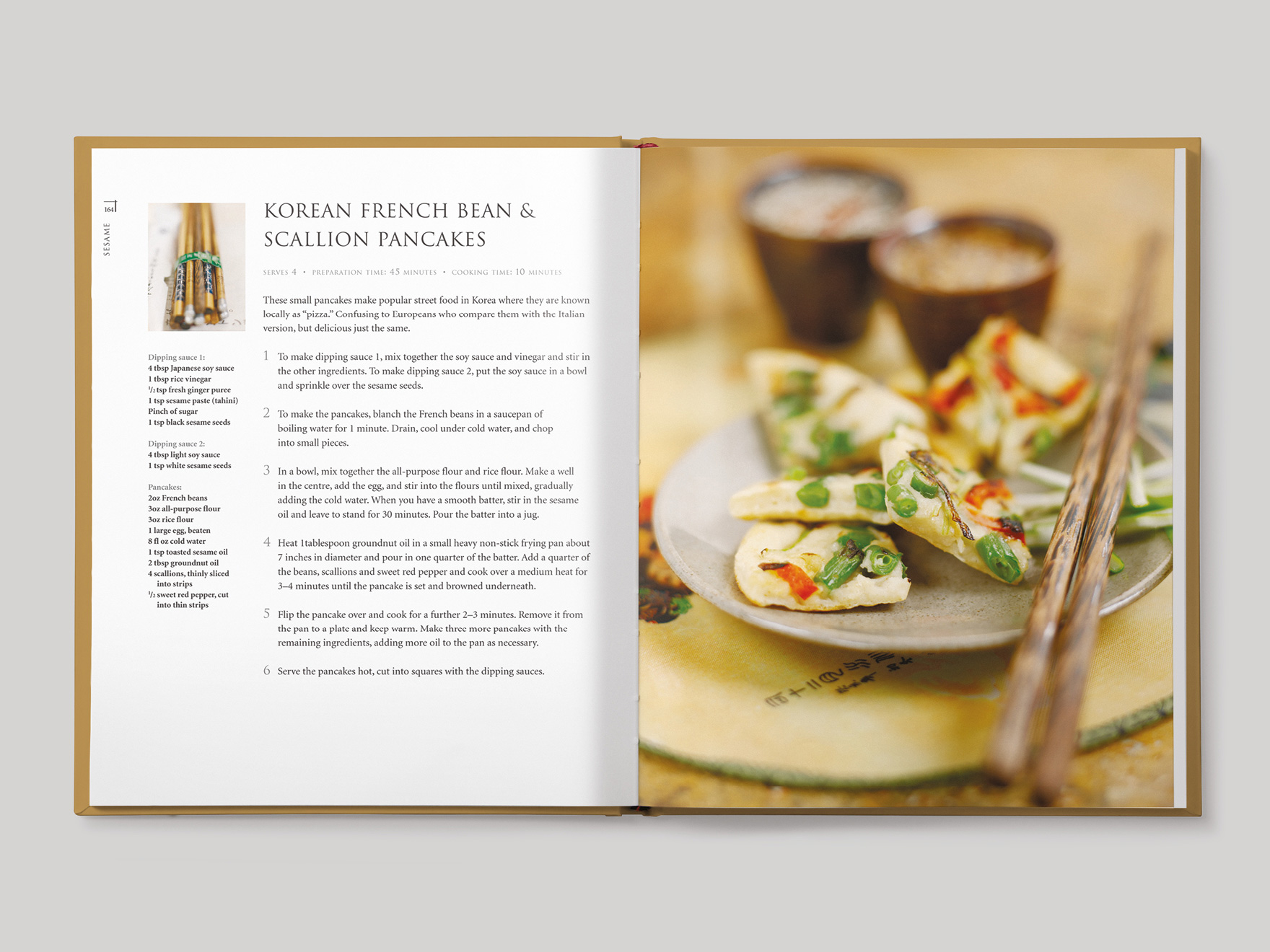 Inside book pages from Asian Flavours showing a recipe for Korean French bean and scallion pancakes