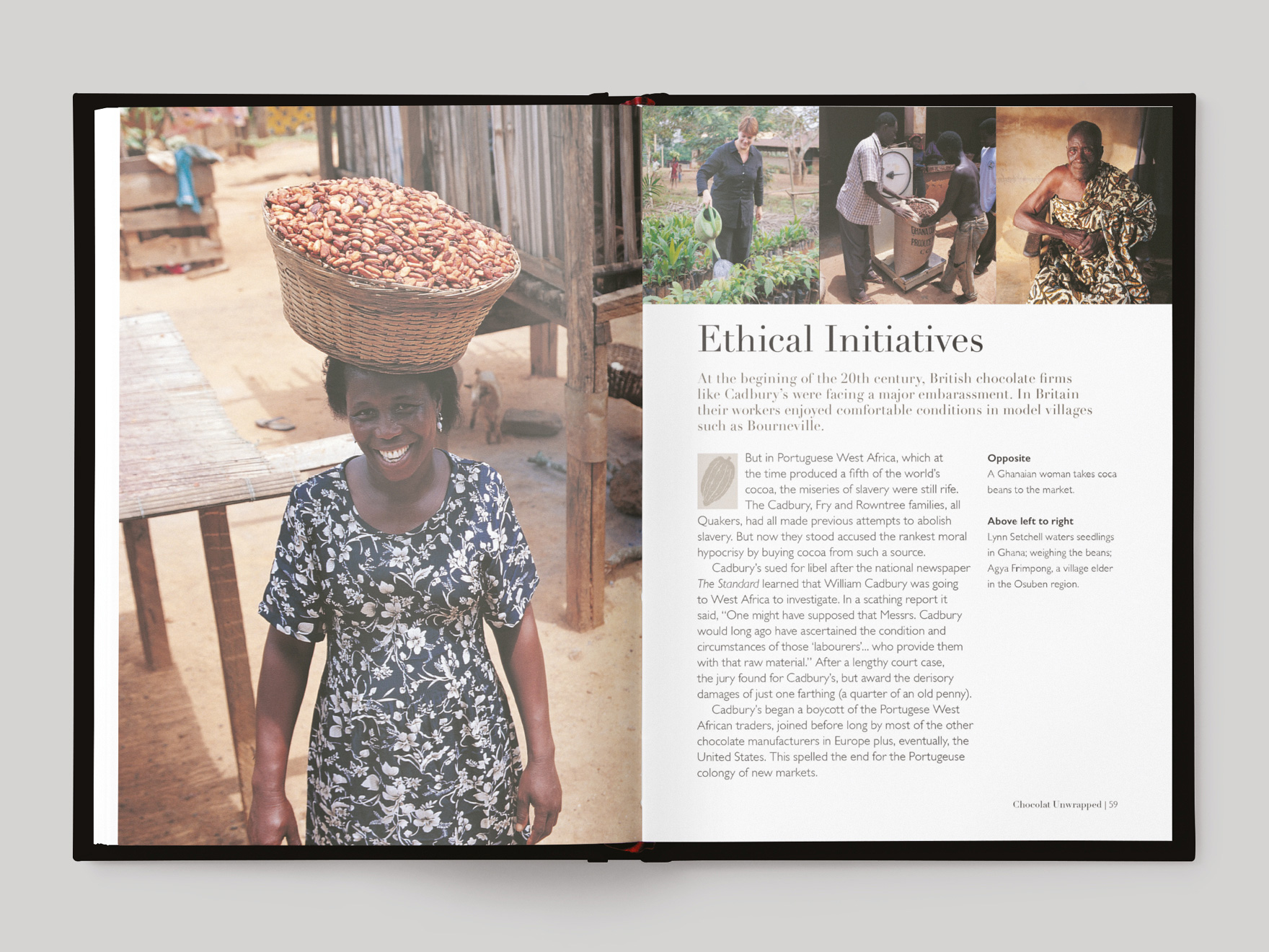 Inside book pages from Chocolate Unwrapped about ethical initiatives