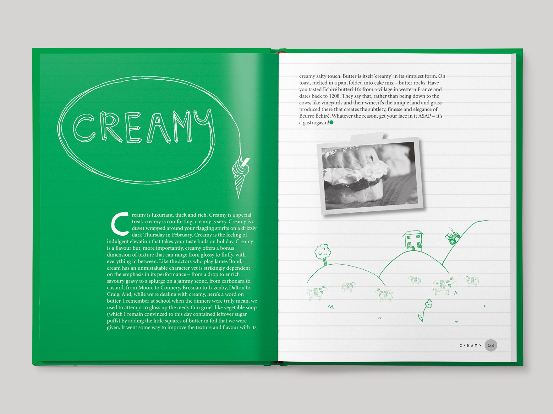 Inside book pages from Olly Smith's Eat & Drink recipe book showing the opener to the chapter about cream