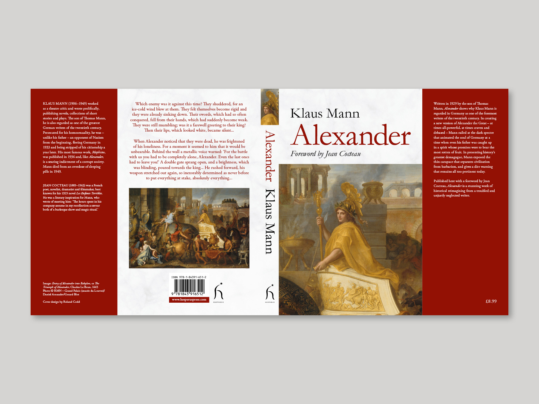 Full book cover for Alexander, showing the front, spine, back and flaps