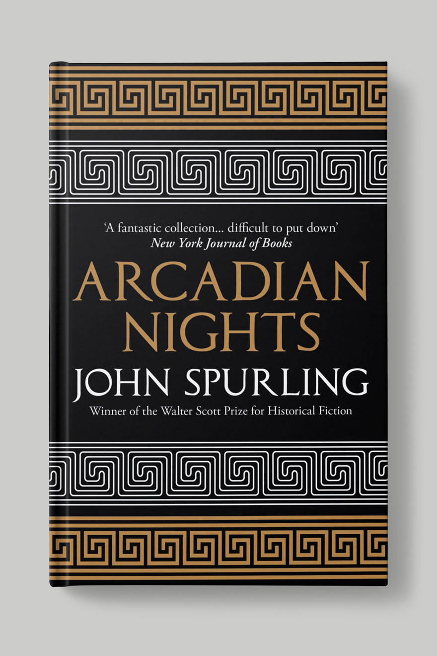 Front book cover to Arcadian Nights, a black cover with gold text and a white and gold Greek pattern