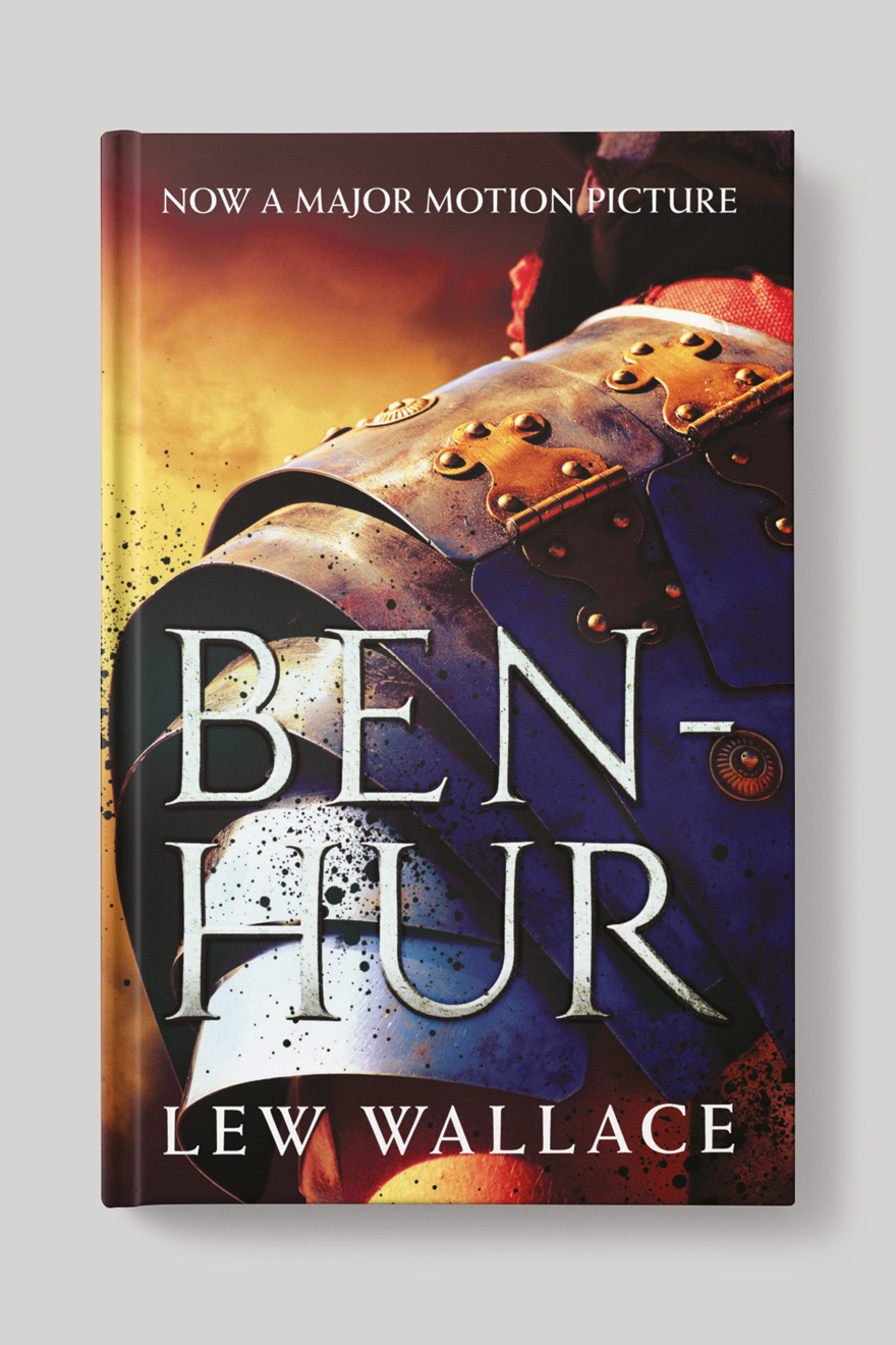 Front of the book cover to Ben Hur, showing the shoulder of a Roman soldier in armour