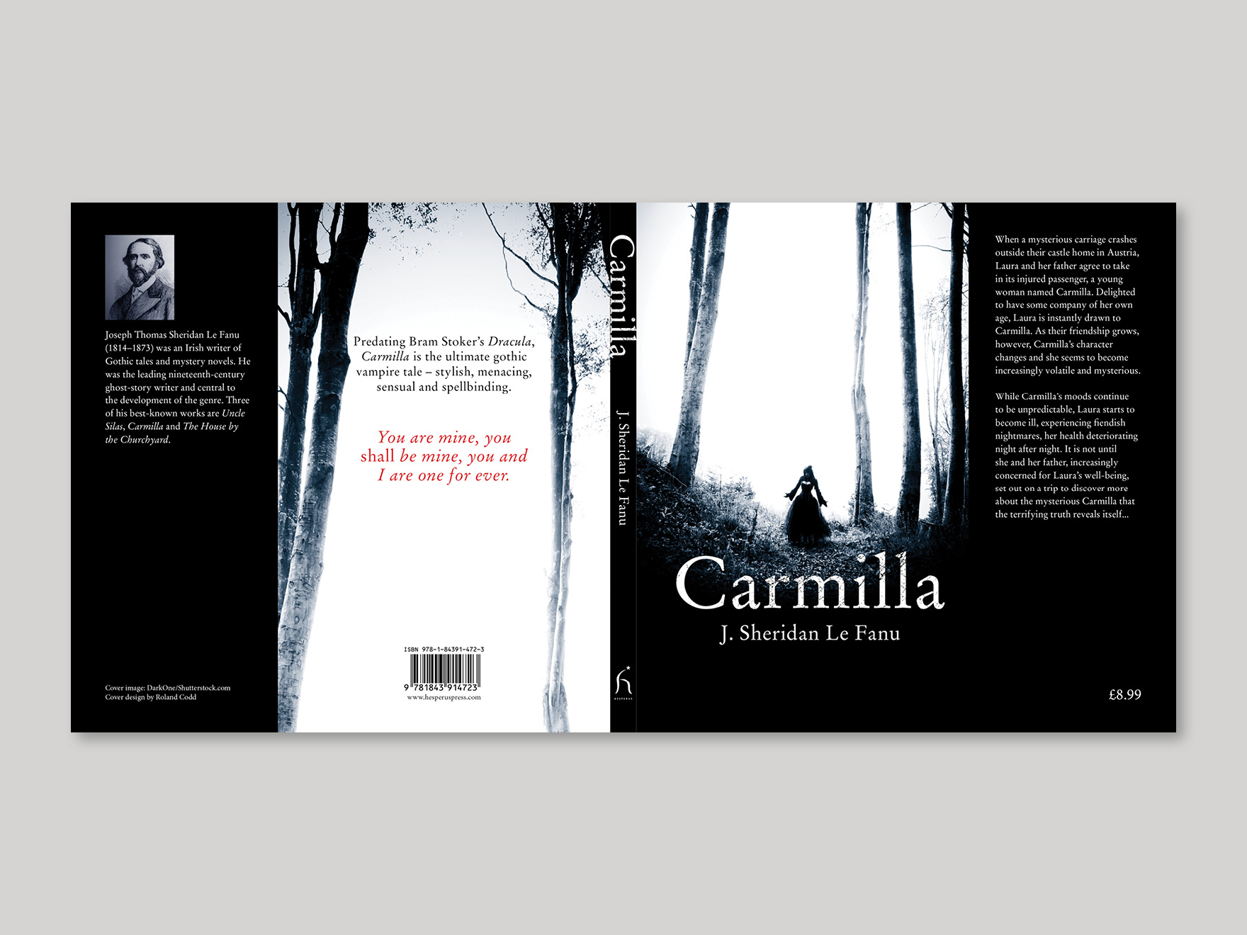 Full book cover to Carmilla, showing the front, spine, back and flaps