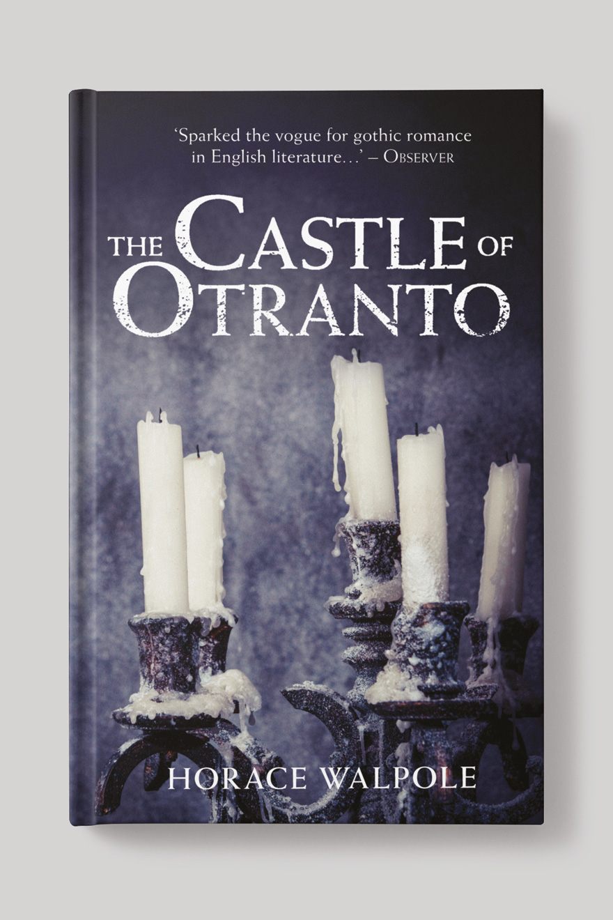 Front of the book cover to The Castle of Otranto, showing a gothic candlestick holder with melted candles