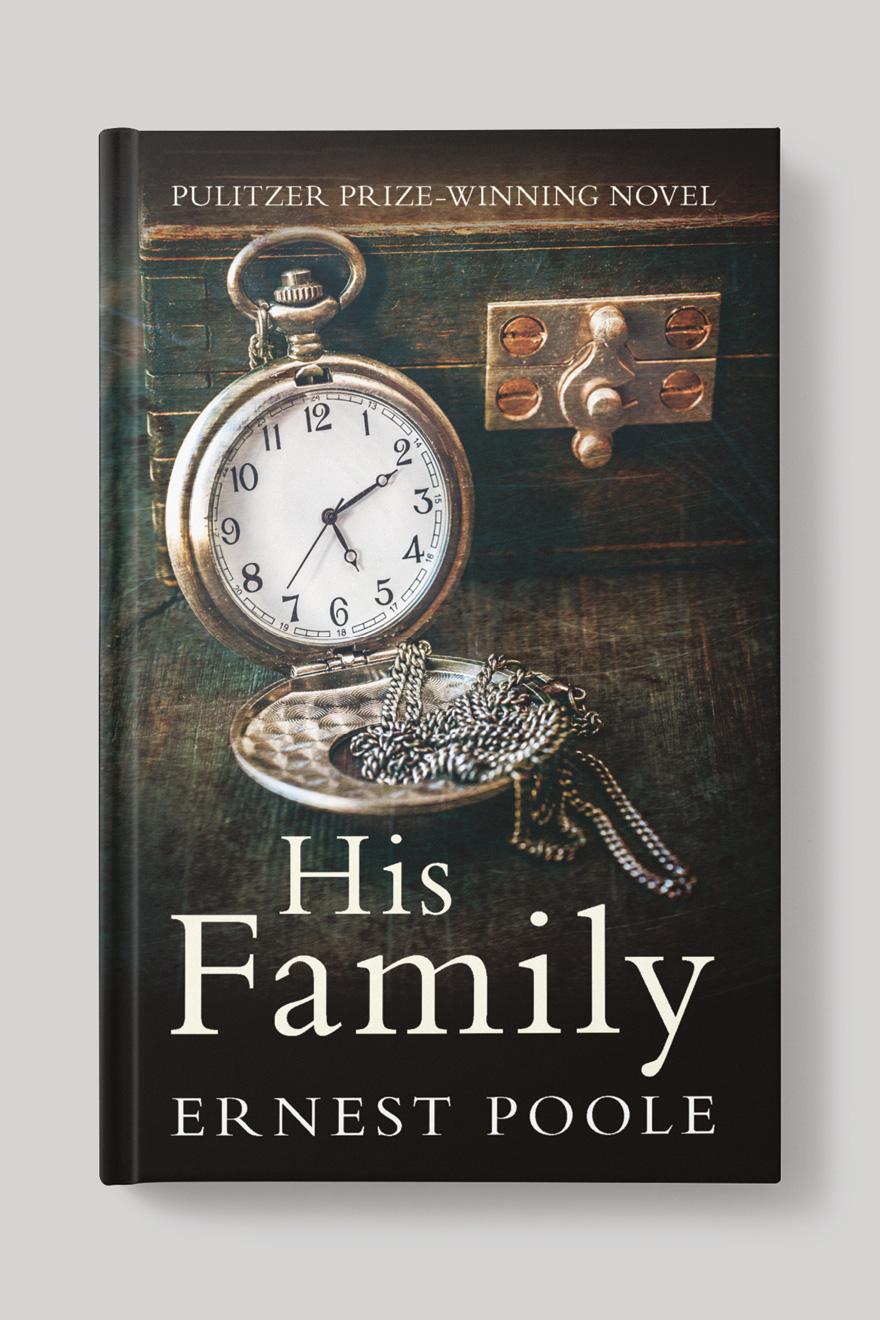 Front of the book cover to His Family, showing an antique silver pocket watch against a jewellry box