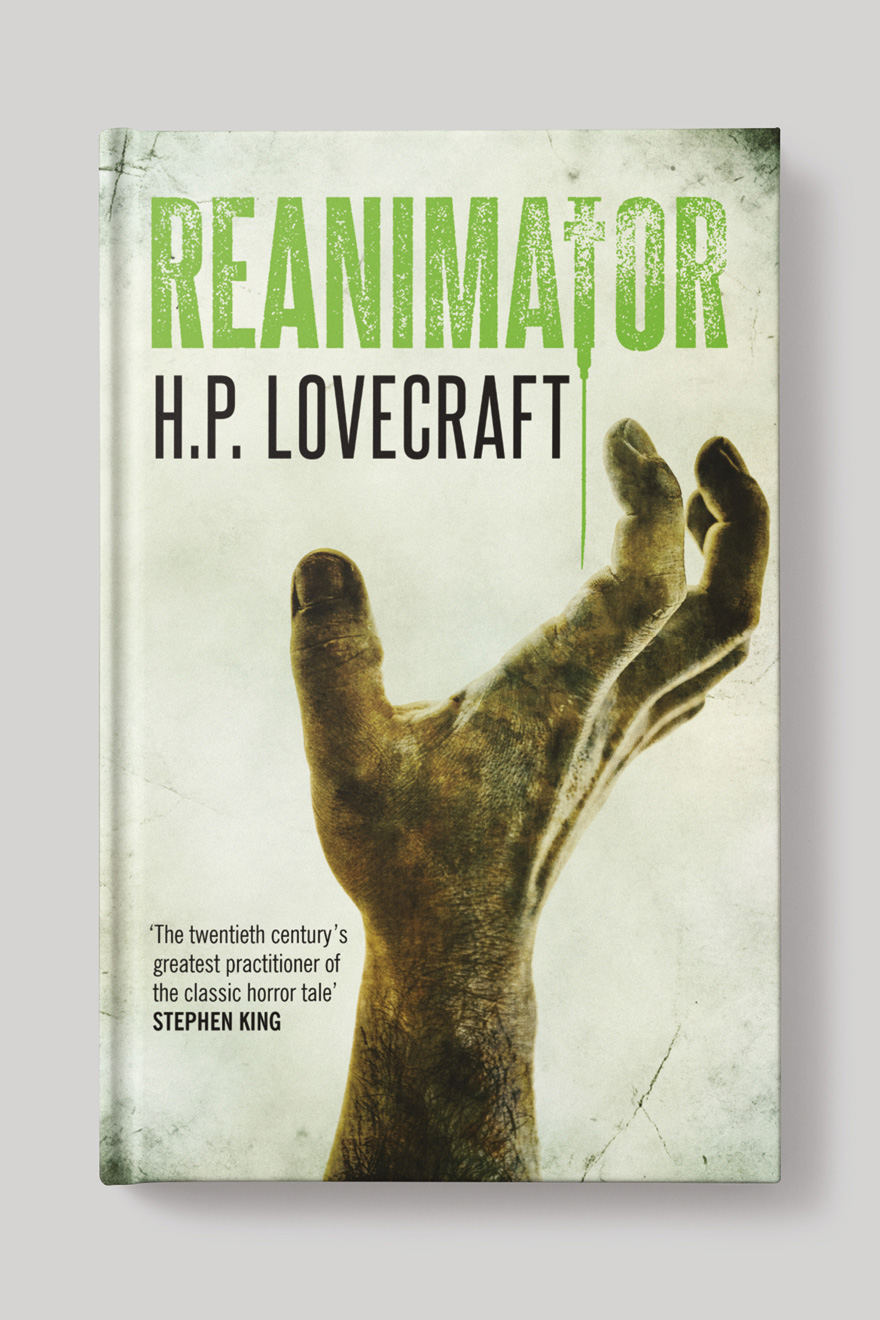 Front of the book cover to Reanimator, showing a zombie hand reaching for the title