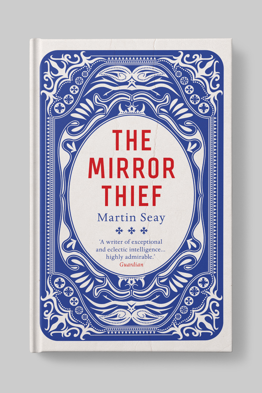 Front cover to The Mirror Thief, which looks like the back of a playing card