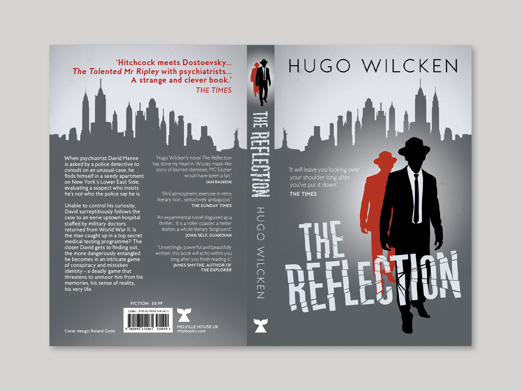 The full book cover, showing the front, spine and back, of The Reflection