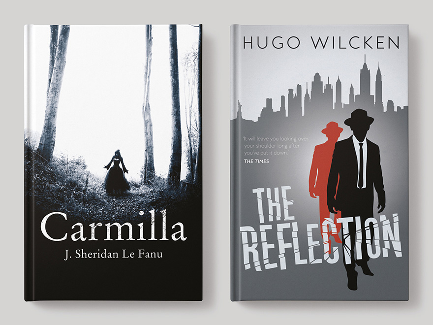 Front book covers for Carmilla, published by Hesperus Press, and The Reflection, published by Melville House UK, both covers designed by Roland Codd. The picture links to a page showing further examples of fiction book cover designs by Roland Codd.