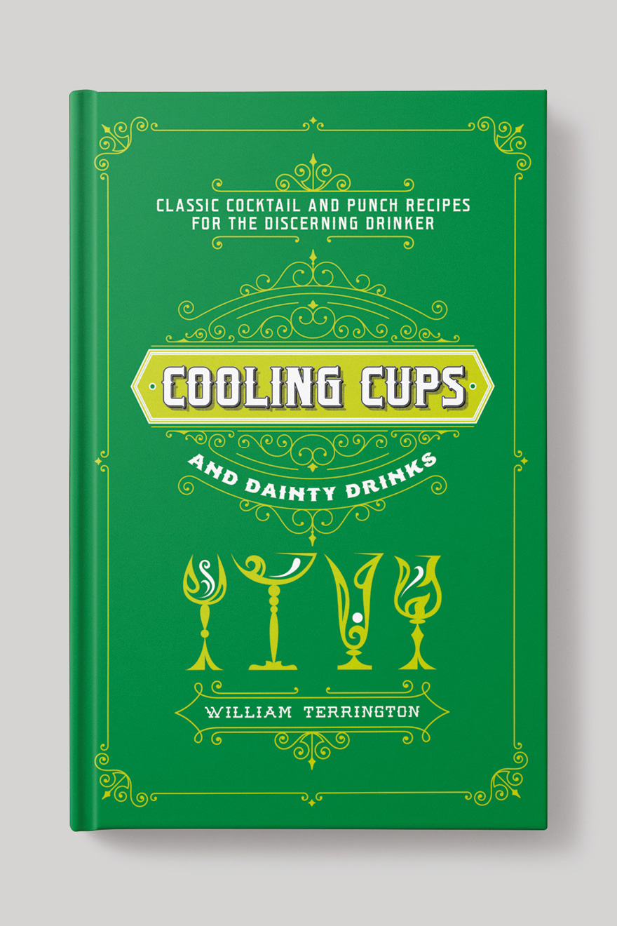 Front book cover to Cooling Cups and Dainty Drinks, showing an orante frame and line art illustrations of different drinks