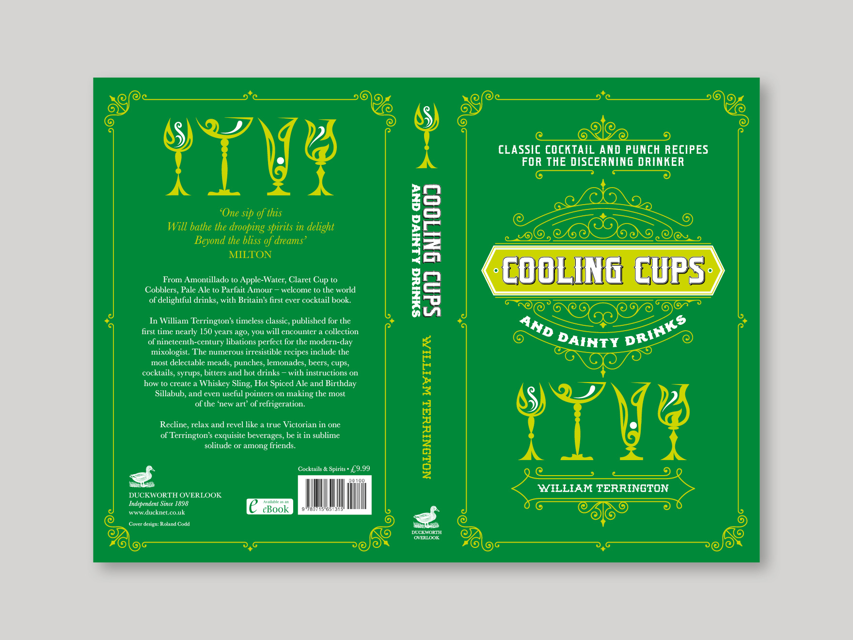 Full book cover to Cooling Cups and Dainty Drinks, showing the front, spine and back covers