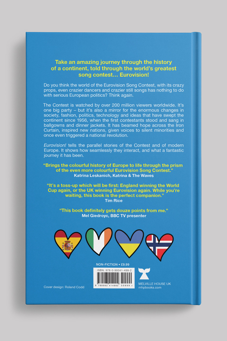 Back cover to Eurovision! showing the back cover blur, quotes, barcode and price details