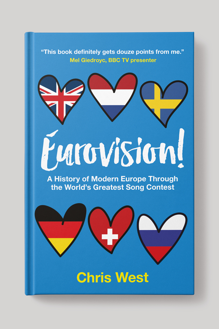Front book cover to Eurovision!, showing love hearts containing the flags of countries