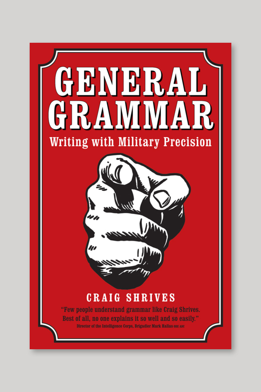 Alternative book cover for Grammar Rules, showing the original title of General Grammar with a large pointing finger