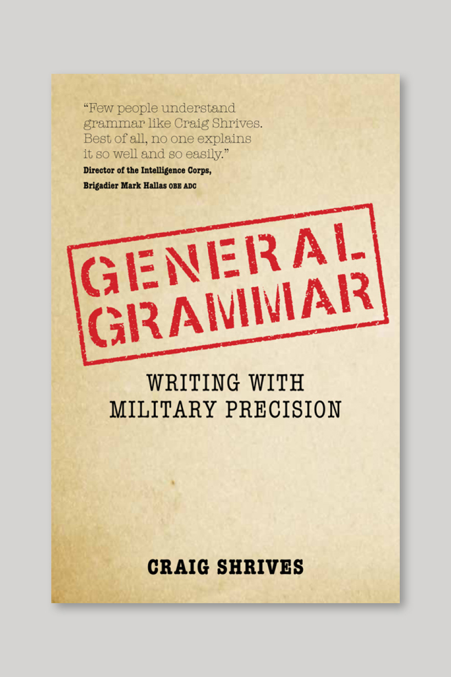 Alternative book cover for Grammar Rules, designed to look like a military dossier and using the original title of General Grammar