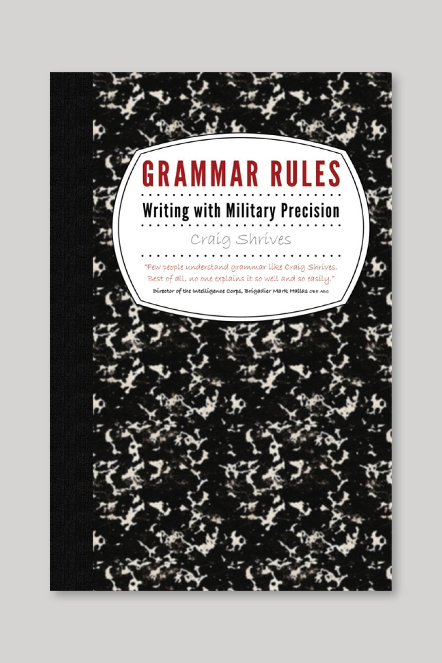 Alternative book cover for Grammar Rules, designed to look like the front cover of a notebook