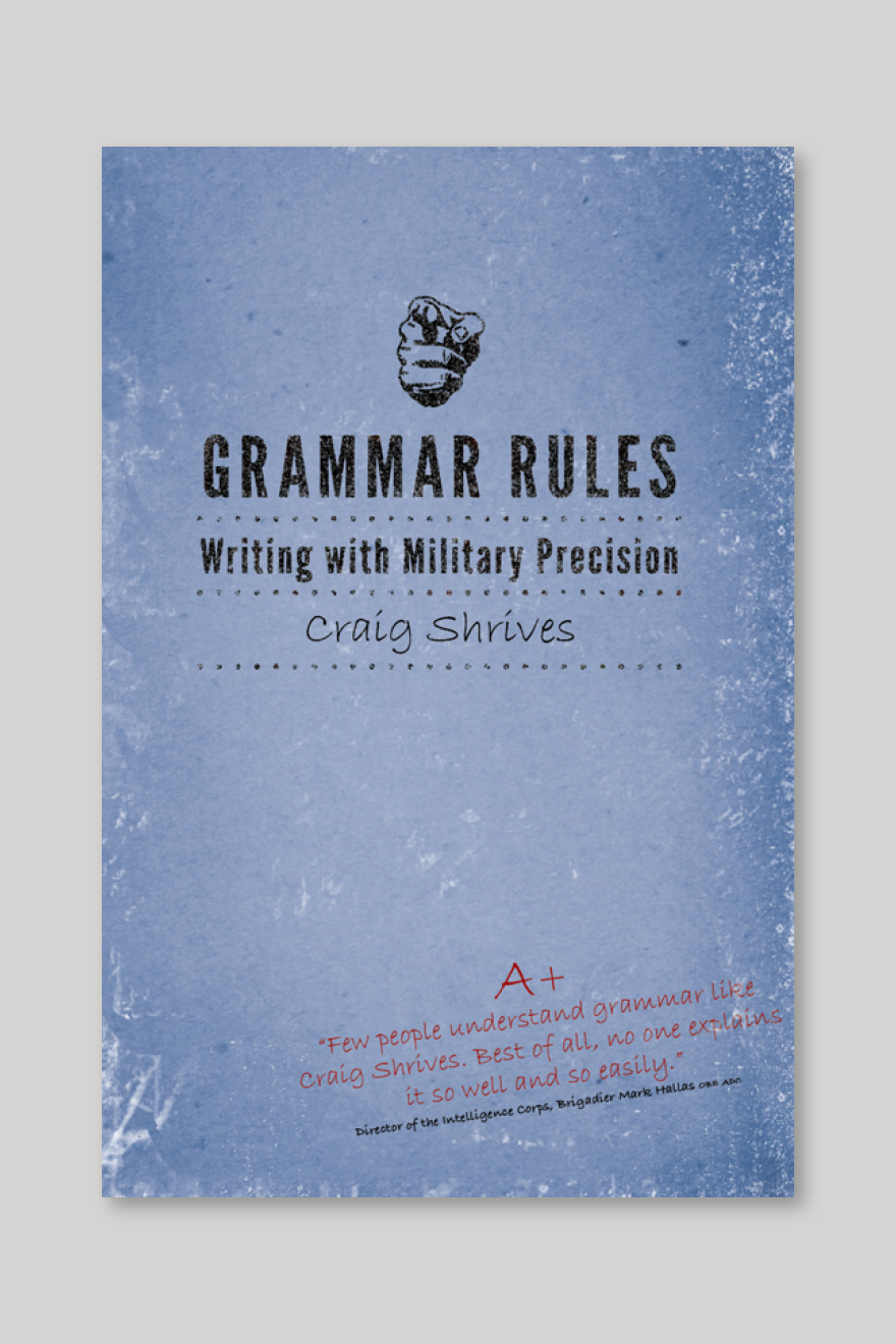 Alternative book cover for Grammar Rules, designed to look like writing book