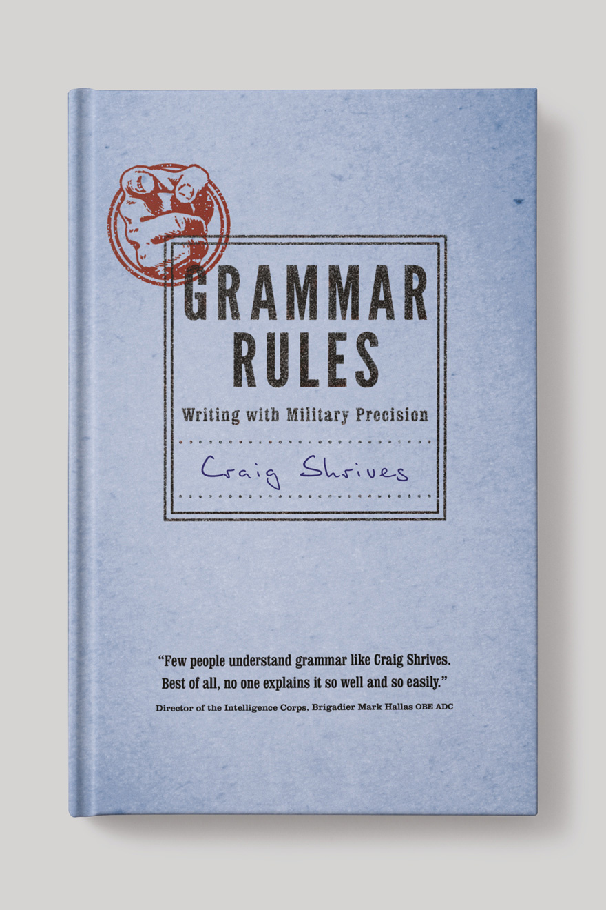 Front book cover to Grammar Rules, designed to look like an old school exercise book