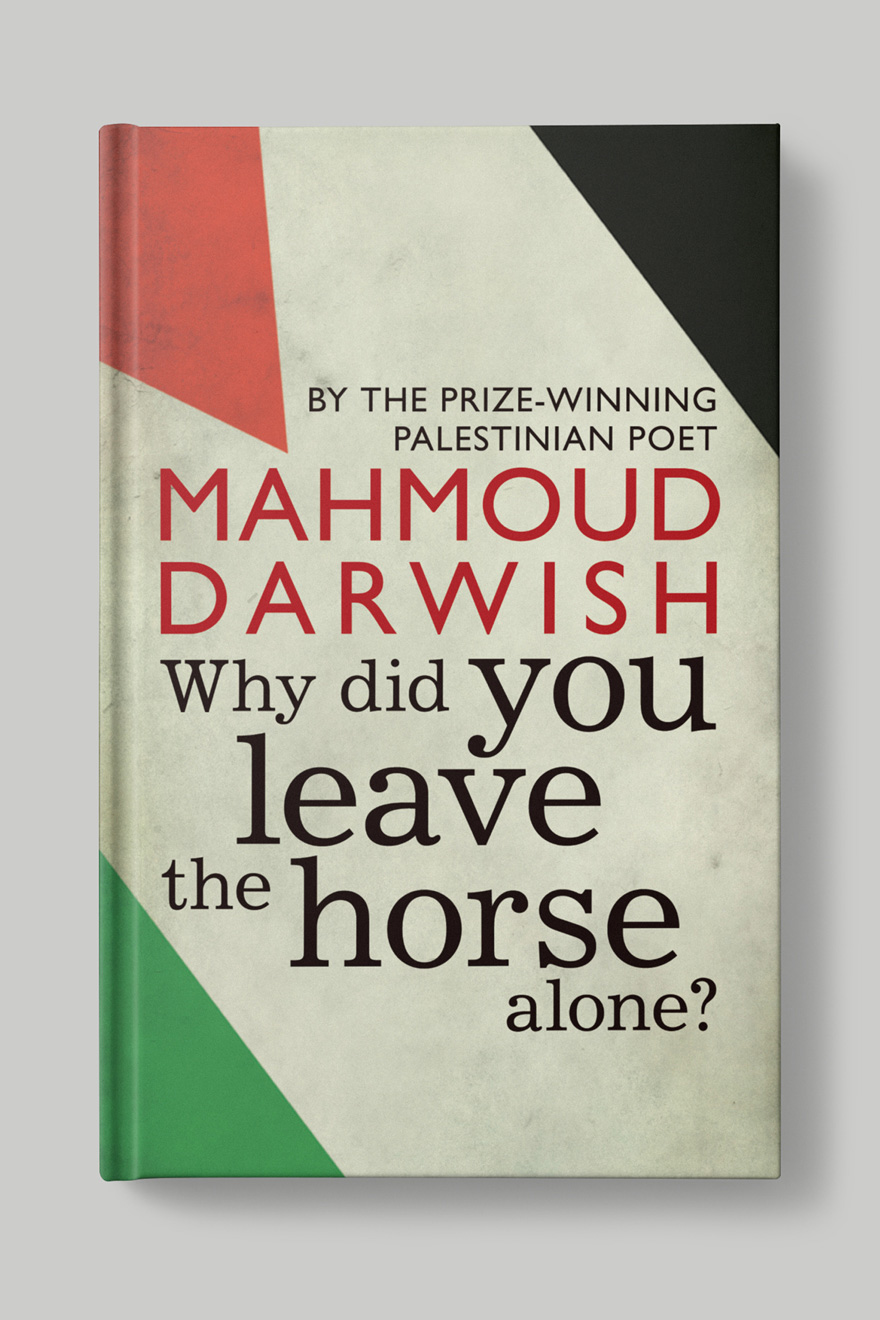 Front book cover to Why Did You Leave the Horse Alone?, showing the title against the background of the Palestine flag