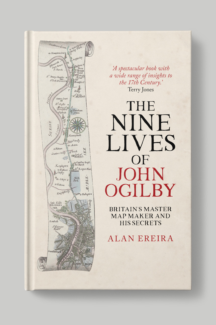 Front book cover to The Nine Lives of John Ogilby, showing a map scroll