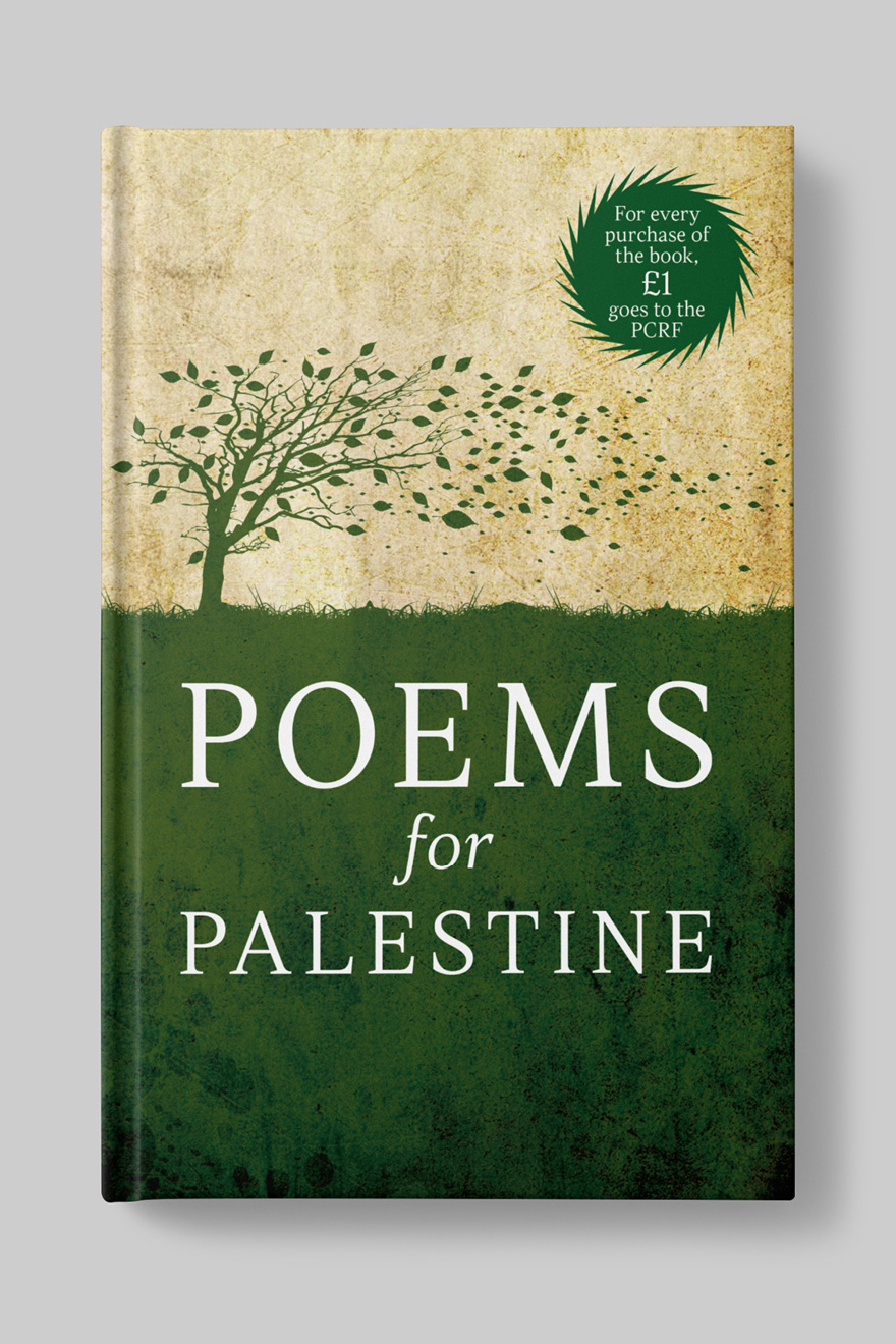 Front book cover to Poems for Palestine, showing an illustration of a tree with its leaves blowing away in the wind