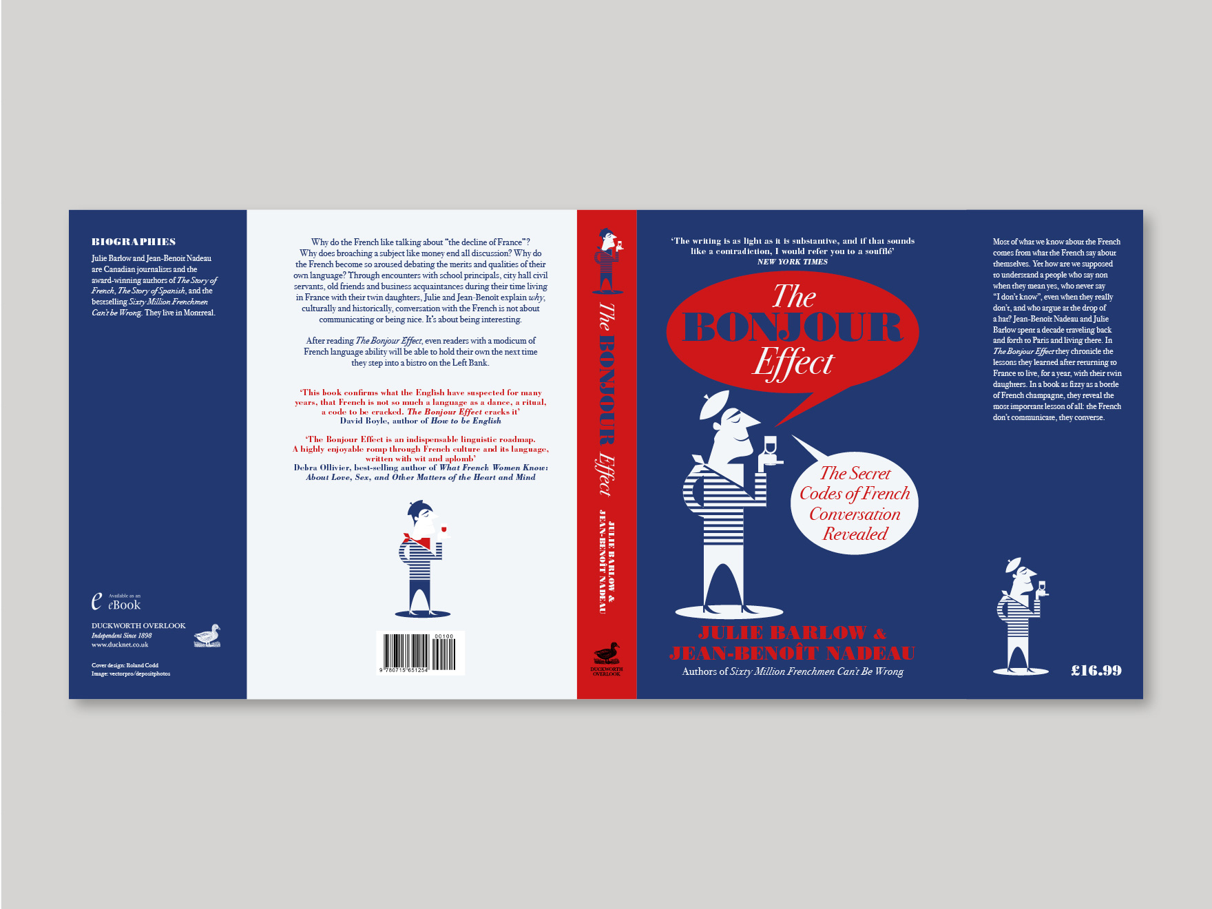 Full book cover to The Bonjour Effect, showing the front, spine, back and flaps