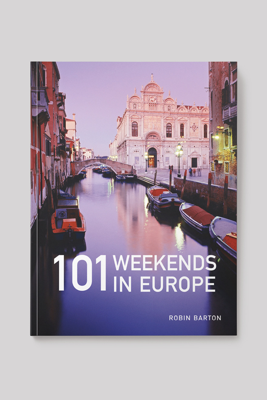 Front book cover to 101 Weekends in Europe, showing a Venician canal