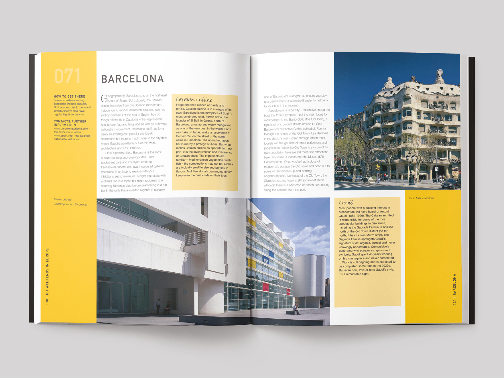 Inside pages from the 101 Weekends in Europe book showing a double page entry for Barcelona