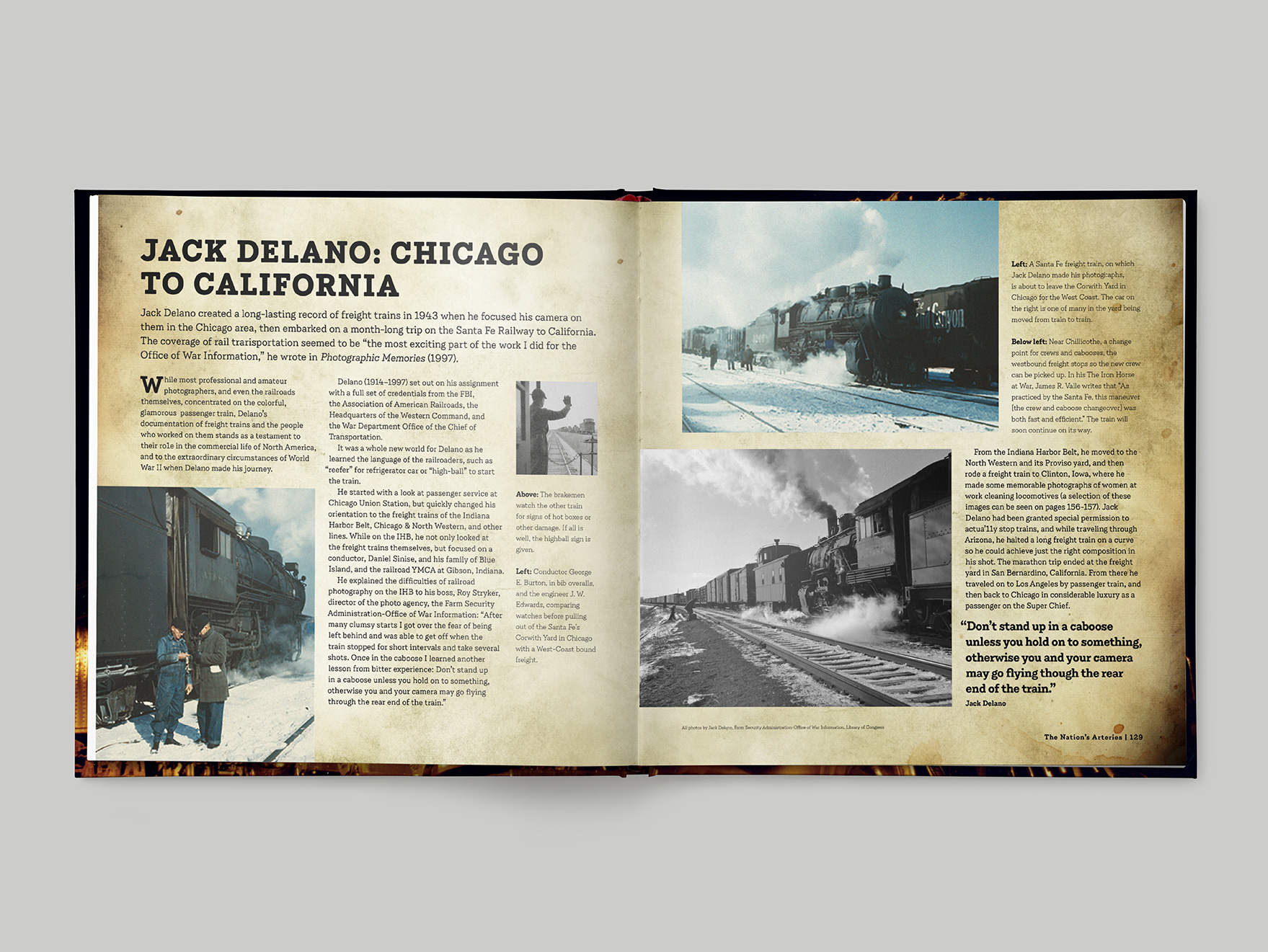 Inside pages from Classic Steam showing a two page feature about a train journey by rail photographer John Delano