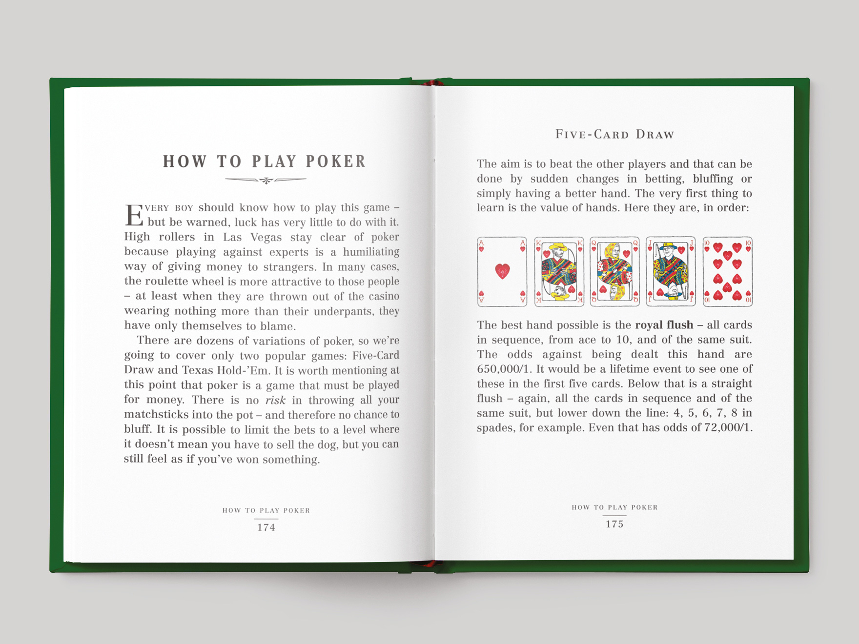 Inside pages from the Pocket Dangerous Book for Boys: Things to Do book showing how to play poker