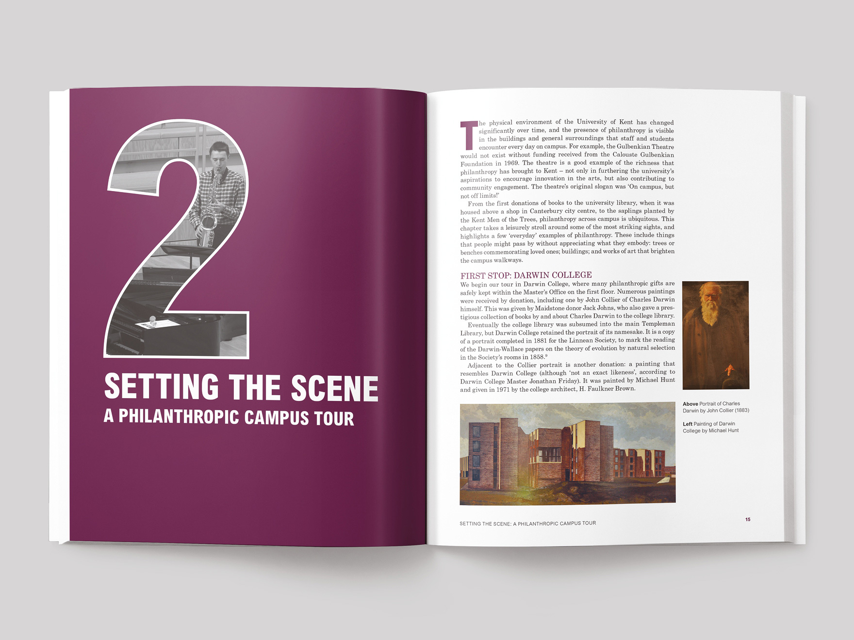 Inside pages from the Hidden History book showing the opener for chapter two, a philanthropic campus tour