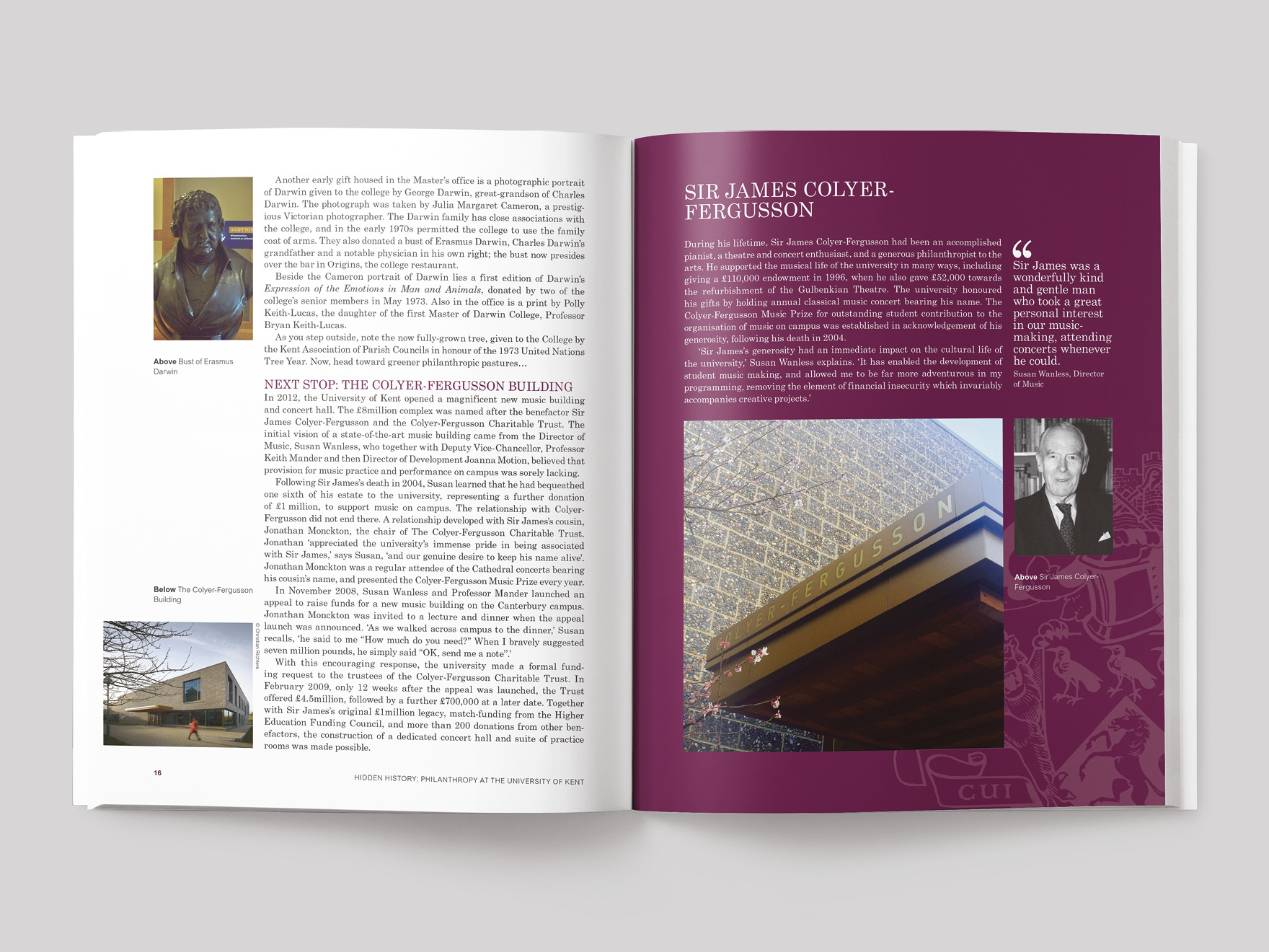 Inside pages from the Hidden History book showing the history of the Colyer-Fergusson building and a case study about Sir James Colyer-Fergusson