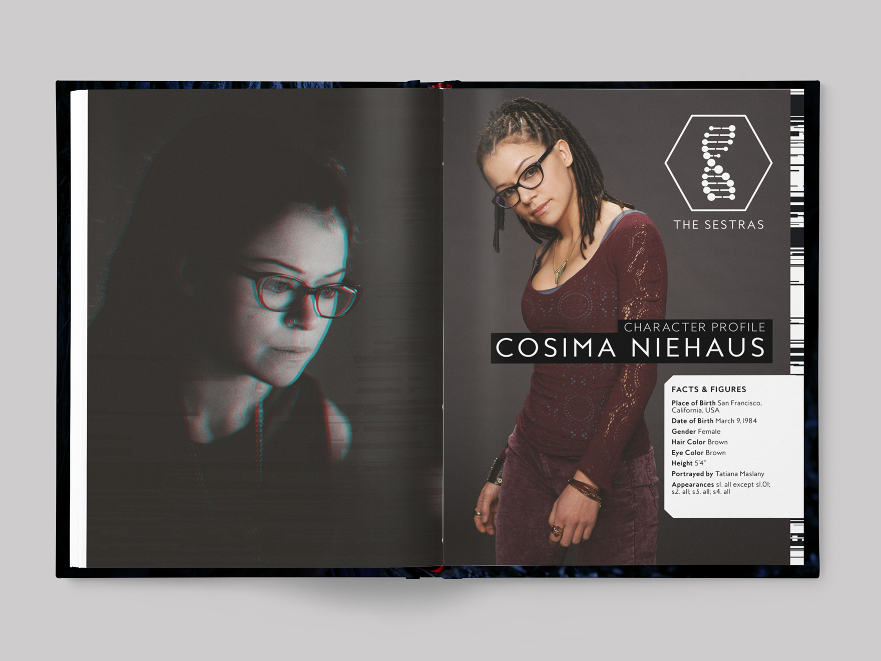 Inside pages from The DNA of Orphan Black book showing the chapter opener to the profile of Cosima Niehaus