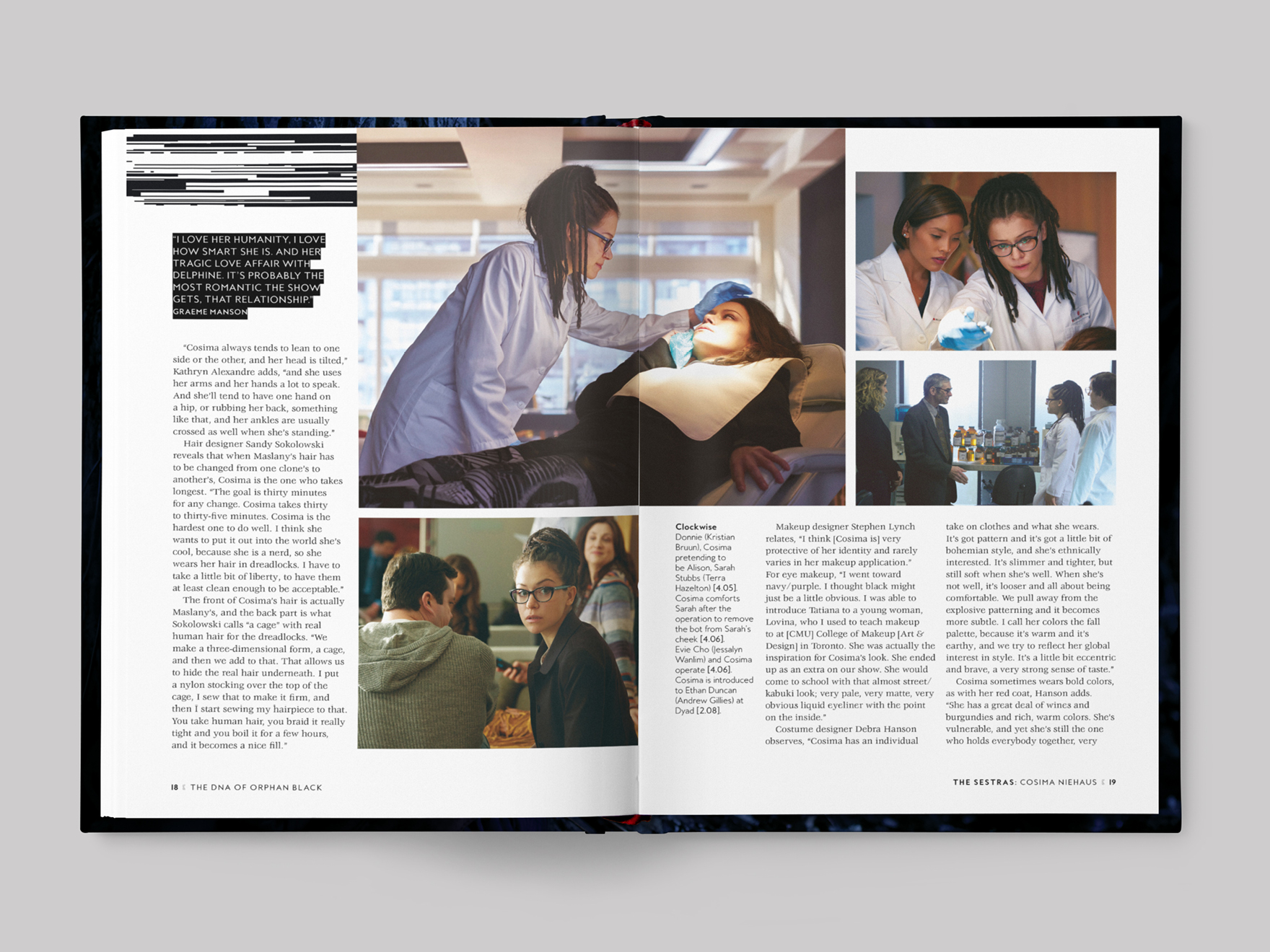 Inside pages from The DNA of Orphan Black book about the character of Cosima Niehaus
