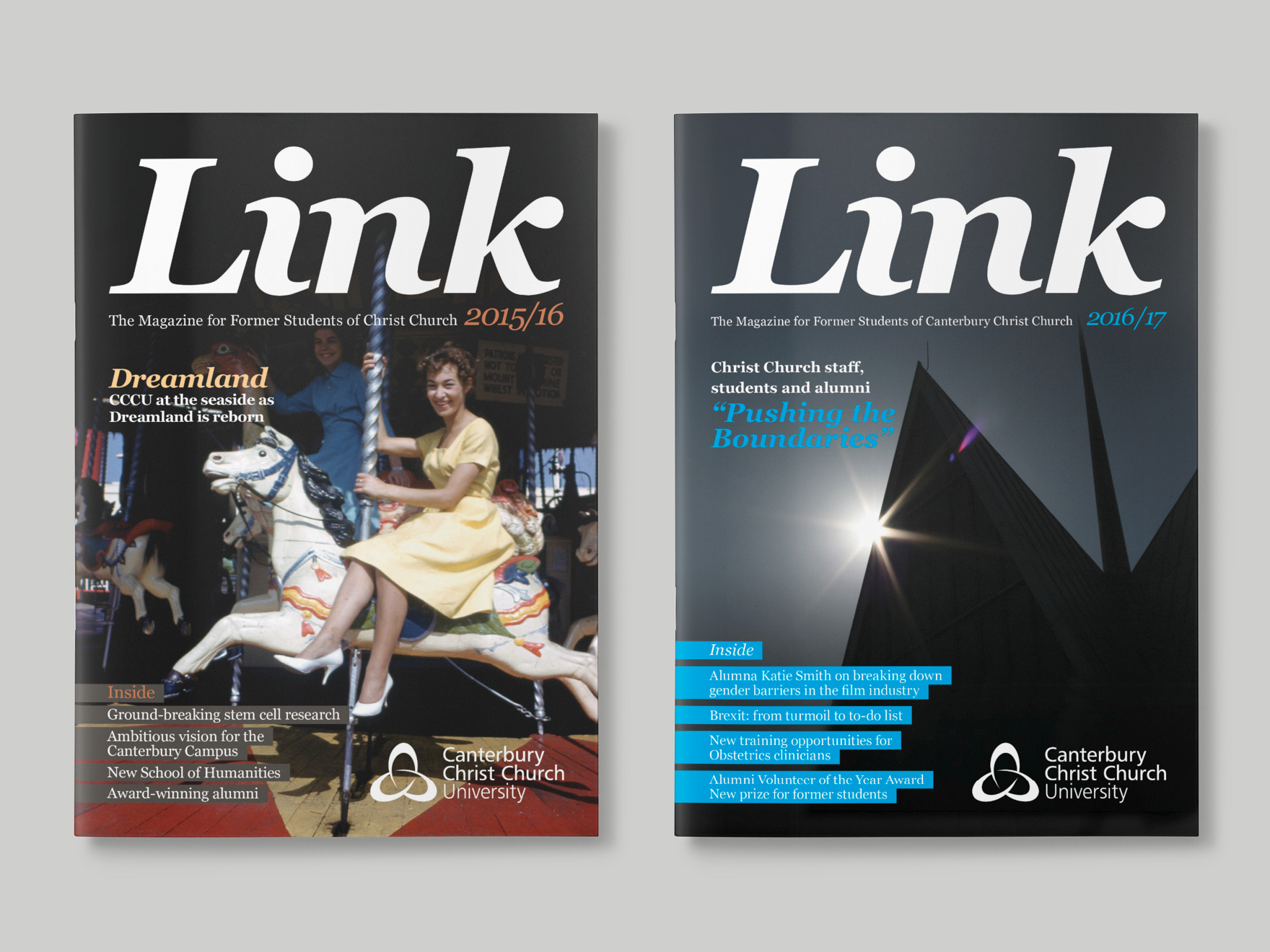 Front covers of the 2015 and 2016 issues of issue of Link magazine