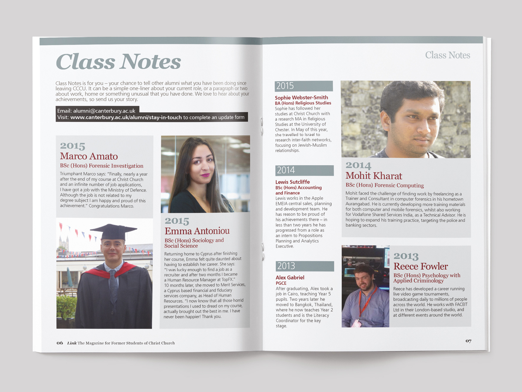 Inside pages from Link magazine, showing the class notes section