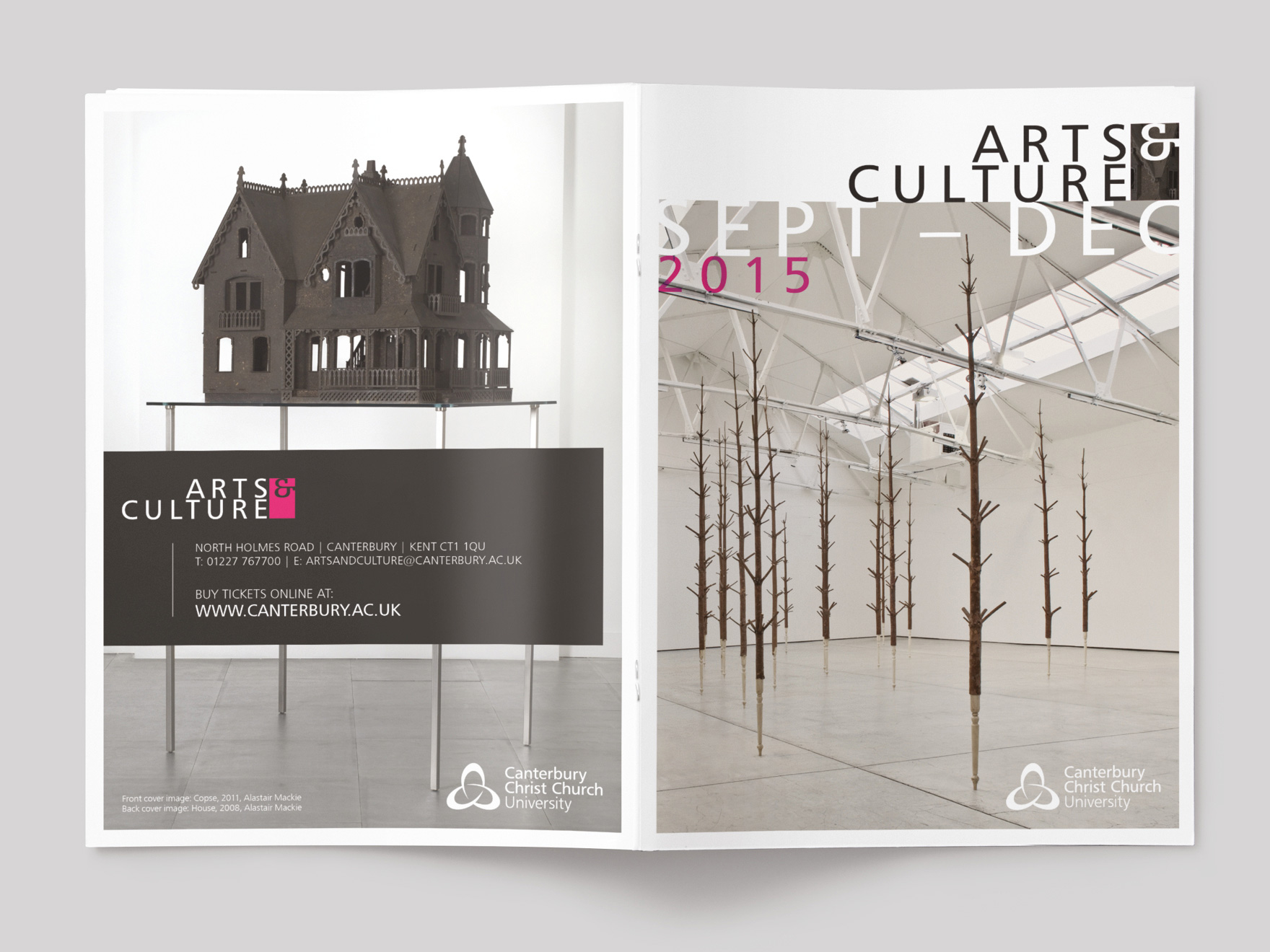 Front and back cover to the Autumn 2015 issue of Arts & Culture magazine