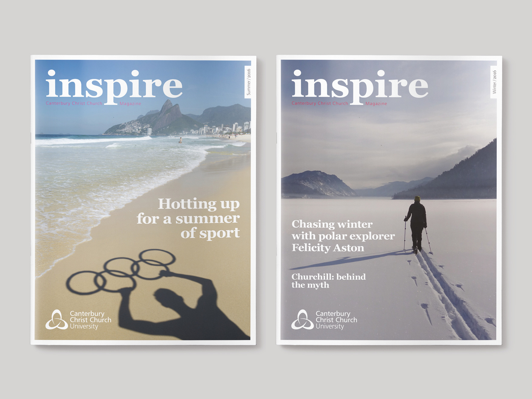 Front covers to the Summer 2015 and Summer 2017 issues of Inspire Magazine