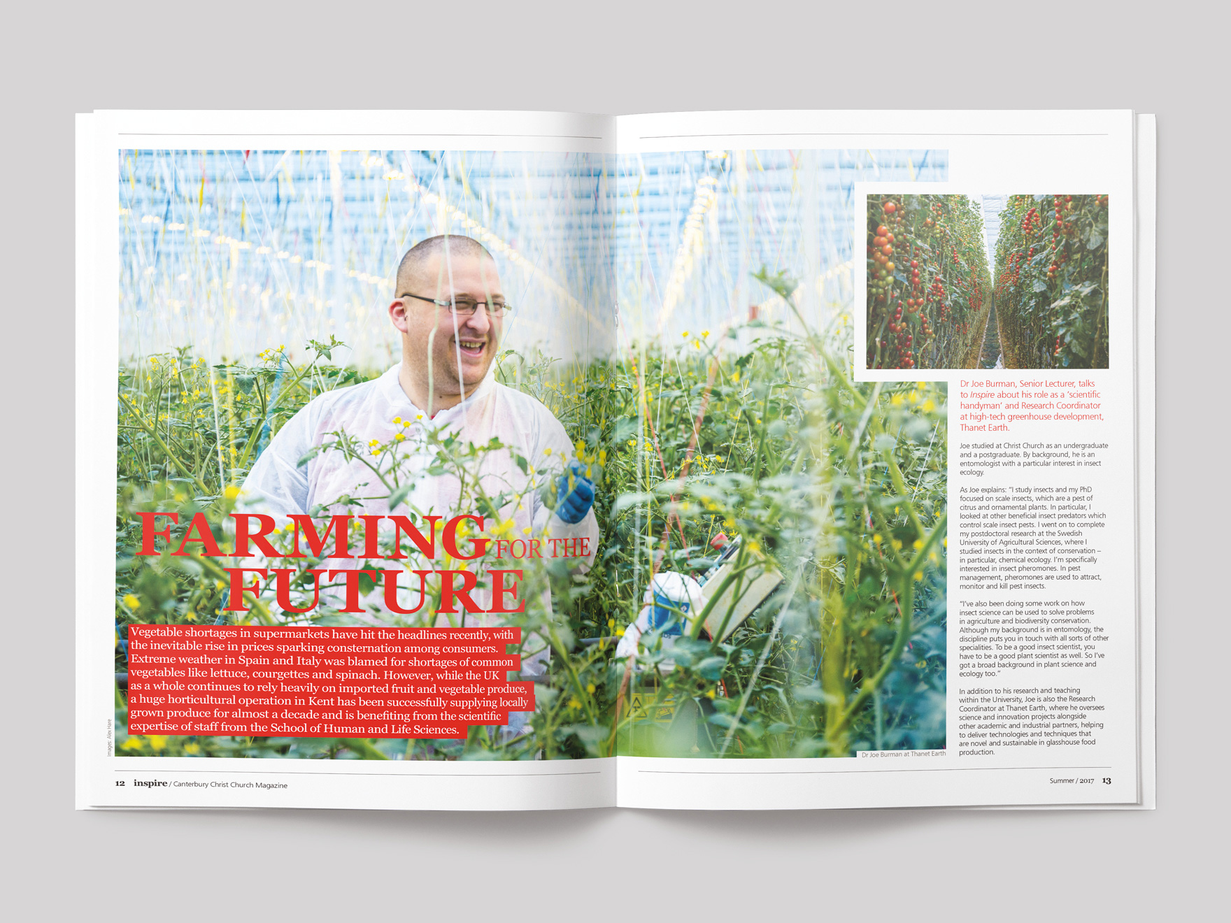 Inside pages from Inspire magazine, showing the opening pages of a feature on Farming for the Future