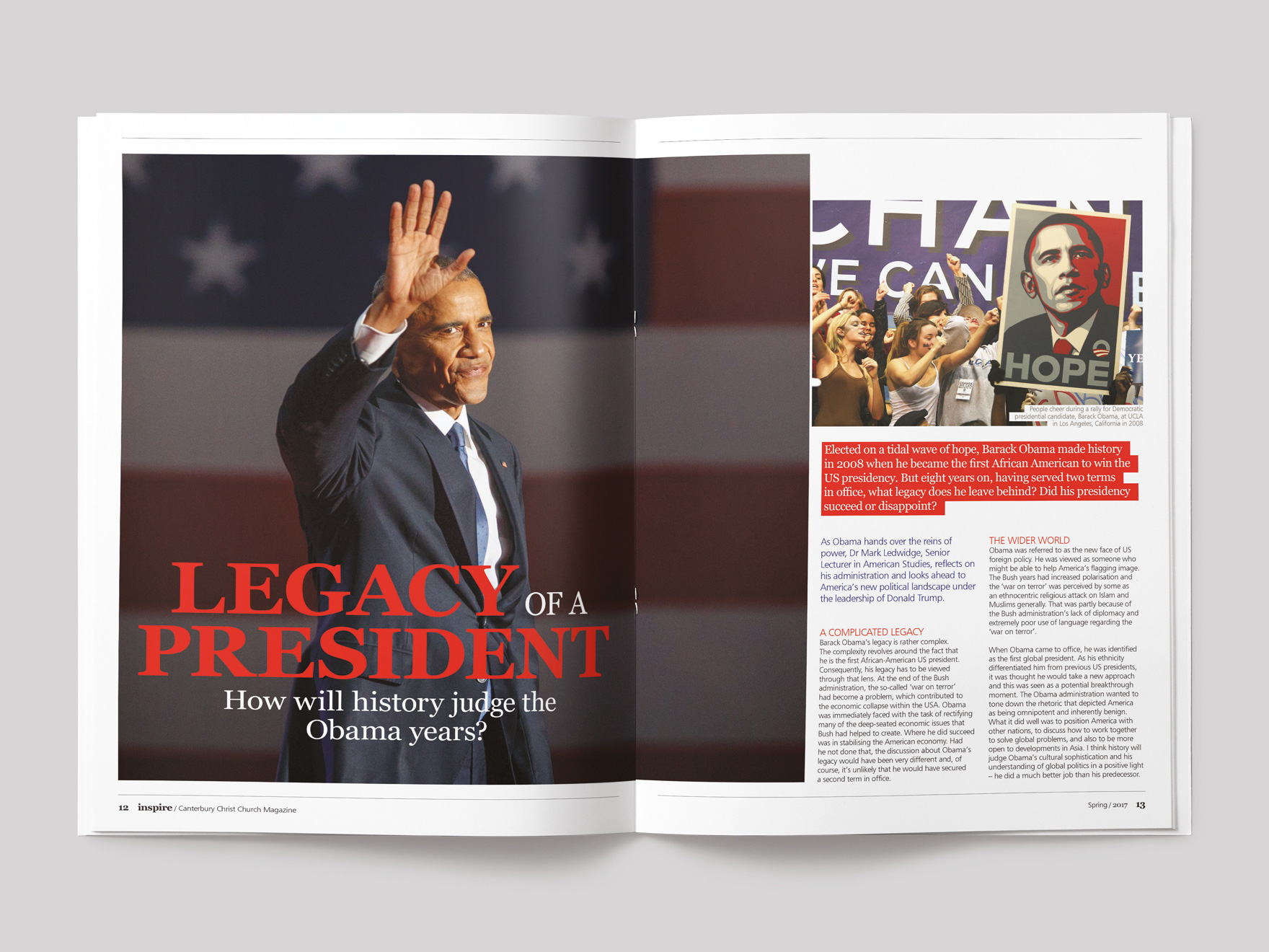Inside pages from Inspire magazine, showing the opening pages of a feature on President Obama
