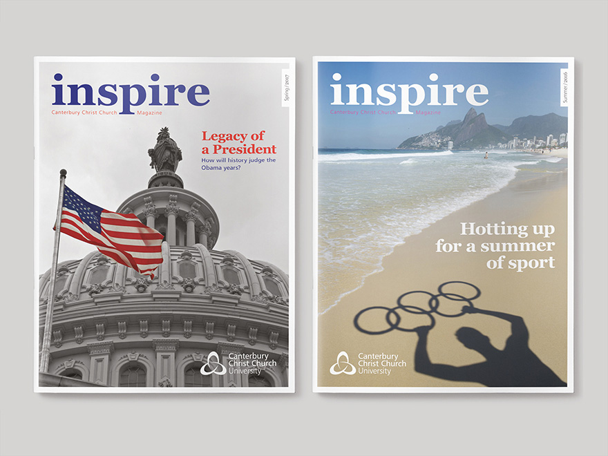 Two front covers to different issues of Inspire, the Canterbury Christ Church University magazine. The picture links to a page showing further examples of the issues of Inspire magazine designed by Roland Codd.