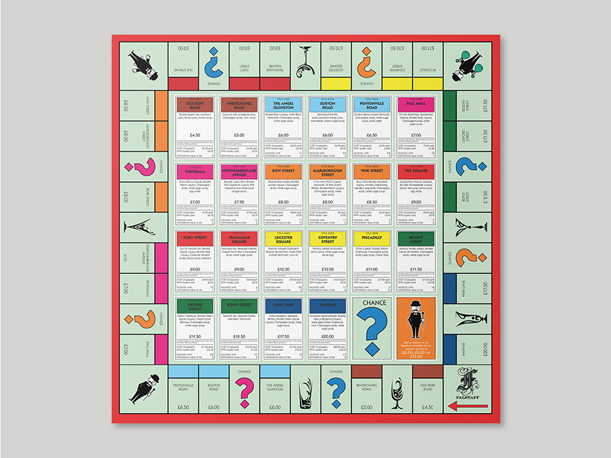 A poster based on a classic board game, designed for the Falstaff Hotel. The picture links to a page showing further examples of menu and promotional items designed by Roland Codd.