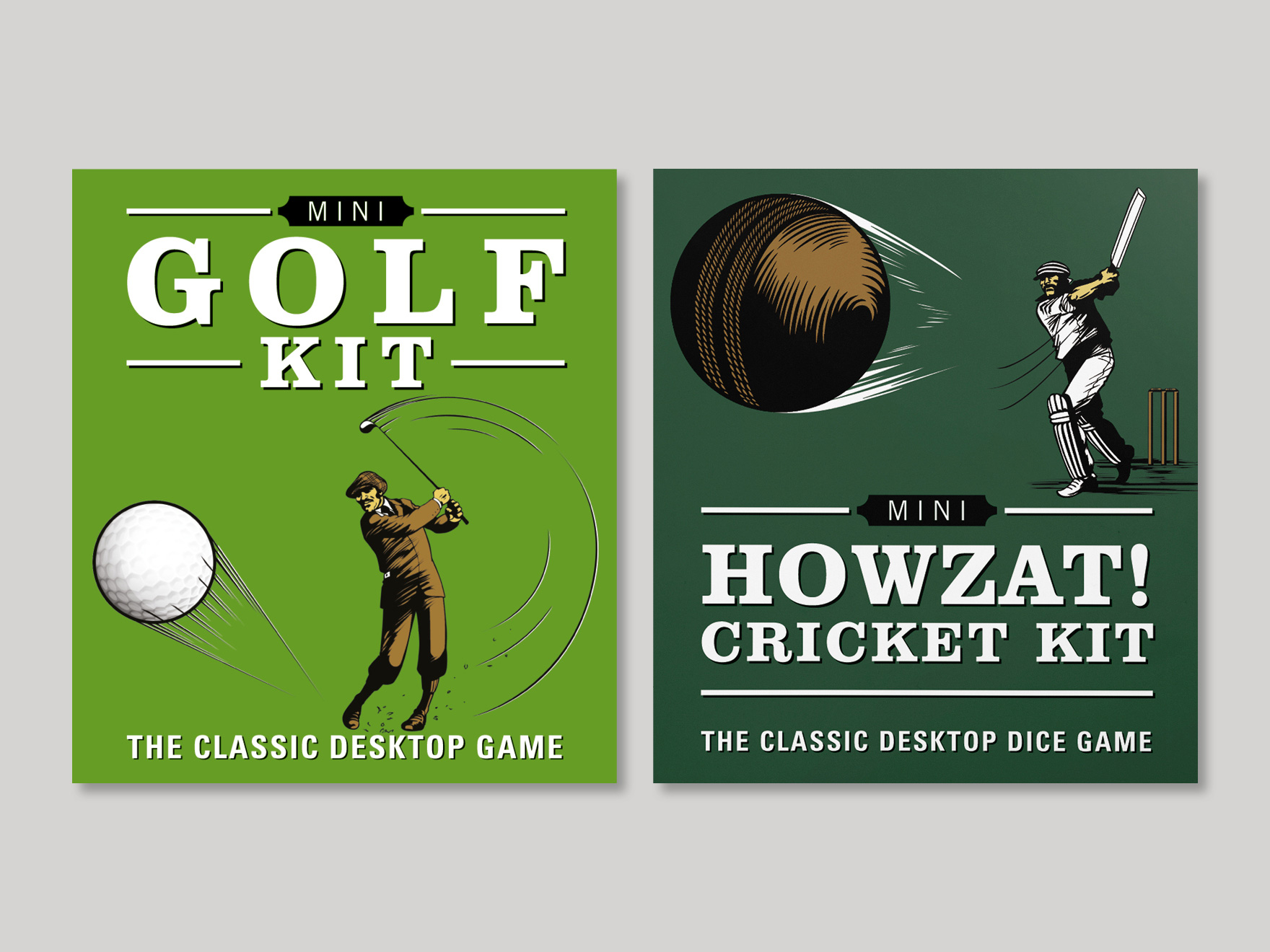 The front cover of the Mini Golf Kit and the Mini Howzat Cricket Kit pocket games. The picture links to a page showing further examples of the mini kits designed by freelance graphic designer Roland Codd.